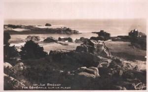 ile de brehat  vue generale de la plage 1946 post card