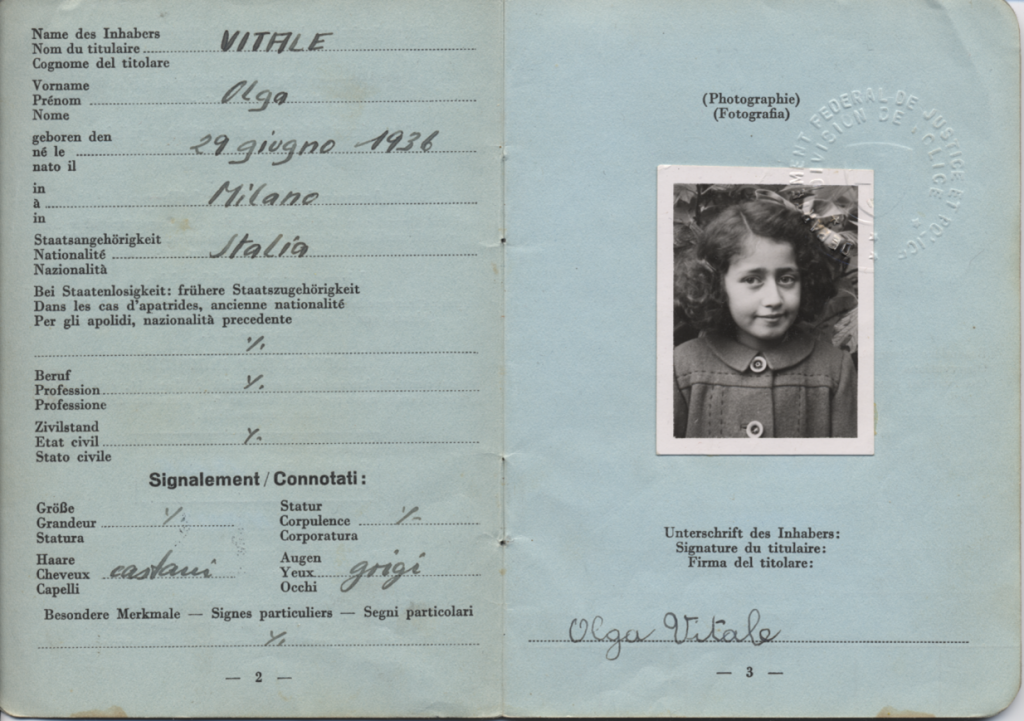 Olga Vitale's refugee passport, 1944