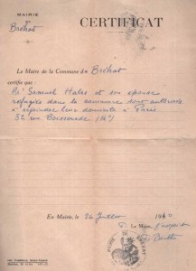 war 26 juillet 1940 certificat refugies Brechat  autorises a rejoindre Paris